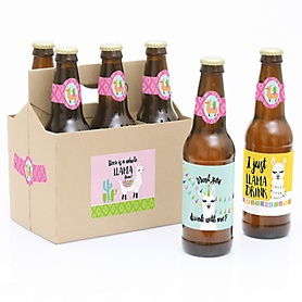 Whole Llama Fun - Decorations for Women and Men - 6 Llama Fiesta Baby Shower or Birthday Party Beer Bottle Label Stickers and 1 Carrier