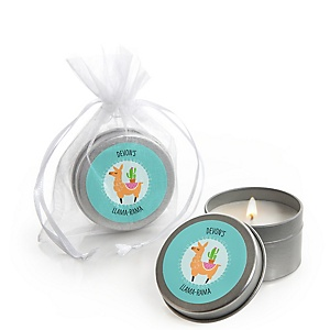 Whole Llama Fun - Personalized Llama Fiesta Baby Shower or Birthday Party Candle Tin Favors - Set of 12