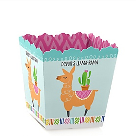Whole Llama Fun - Party Mini Favor Boxes - Personalized Llama Fiesta Baby Shower or Birthday Party Treat Candy Boxes - Set of 12
