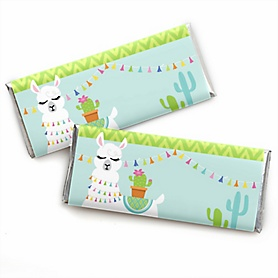 Whole Llama Fun -  Candy Bar Wrapper Llama Fiesta Baby Shower or Birthday Party Favors - Set of 24