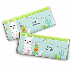 Whole Llama Fun - Personalized Candy Bar Wrapper Llama Fiesta Baby Shower or Birthday Party Favors - Set of 24