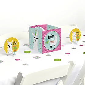 Whole Llama Fun - Llama Fiesta Baby Shower or Birthday Party Centerpiece & Table Decoration Kit