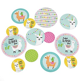 Whole Llama Fun - Llama Fiesta Baby Shower or Birthday Party Giant Circle Confetti - Party Decorations - Large Confetti 27 Count