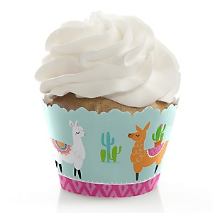 Whole Llama Fun - Llama Fiesta Baby Shower or Birthday Decorations - Party Cupcake Wrappers - Set of 12