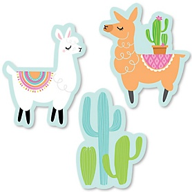 Whole Llama Fun - DIY Shaped Llama Fiesta Baby Shower or Birthday Party Cut-Outs - 24 ct