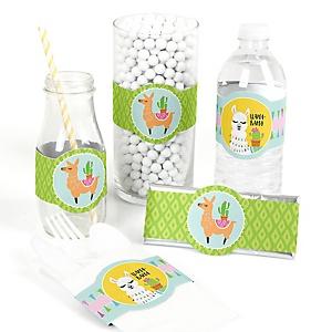 Whole Llama Fun - DIY Party Supplies - Llama Fiesta Baby Shower or Birthday Party DIY Wrapper Favors & Decorations - Set of 15