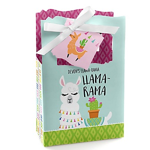 Whole Llama Fun - Personalized Llama Fiesta Baby Shower or Birthday Party Favor Boxes - Set of 12
