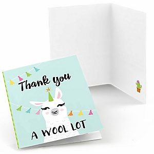 Whole Llama Fun - Llama Fiesta Baby Shower or Birthday Party Thank You Cards  - 8 ct