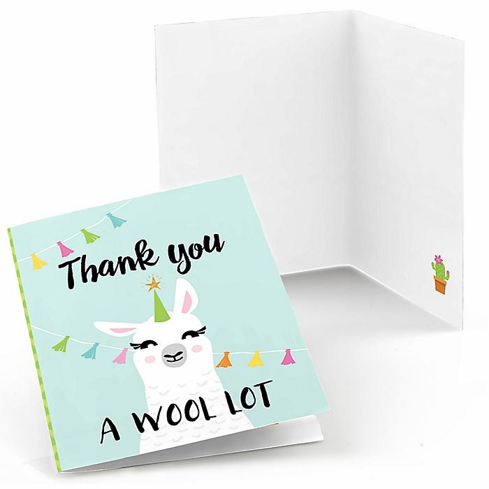 Whole Llama Fun - Llama Fiesta Baby Shower or Birthday Party Thank You Cards  - 8 ct
