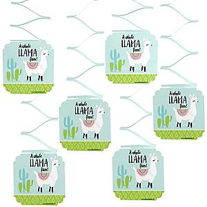 Whole Llama Fun - Llama Fiesta Baby Shower or Birthday Party Hanging Decorations - 6 ct