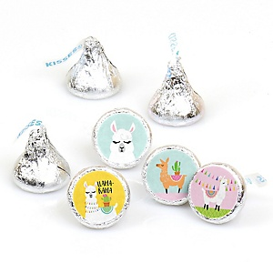Whole Llama Fun - Llama Fiesta Baby Shower or Birthday Party Round Candy Sticker Favors - Labels Fit Hershey's Kisses (1 sheet of 108)