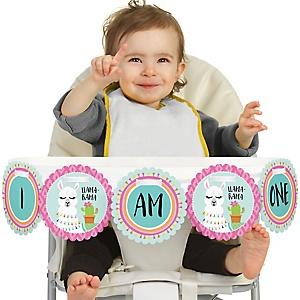 Whole Llama Fun 1st Birthday - I am One - First Birthday High Chair Banner