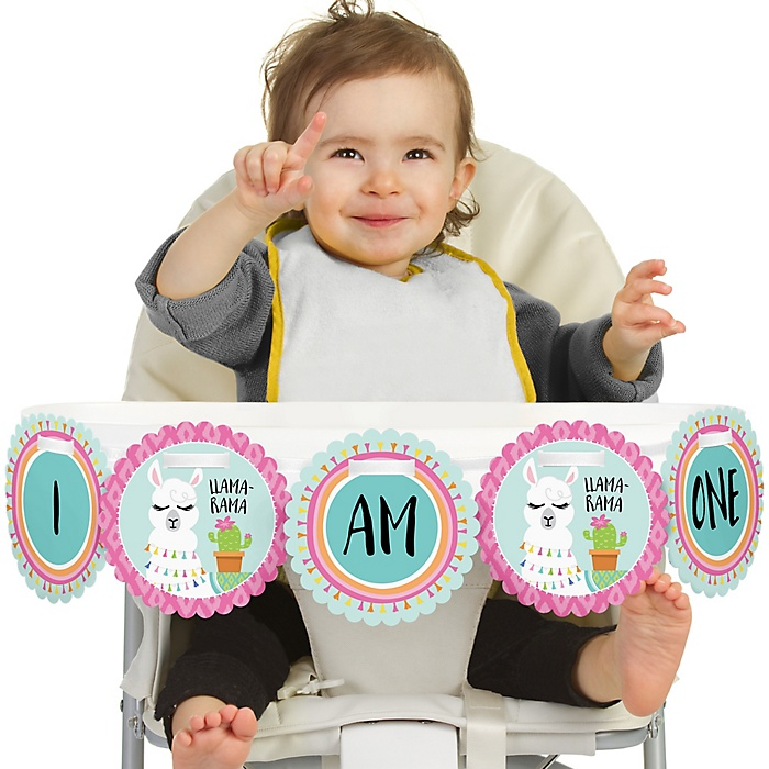 Whole Llama Fun 1st Birthday - I am One - First Birthday High Chair Banner