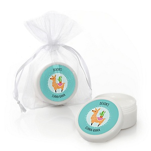 Whole Llama Fun - Personalized Llama Fiesta Baby Shower or Birthday Party Lip Balm Favors - Set of 12