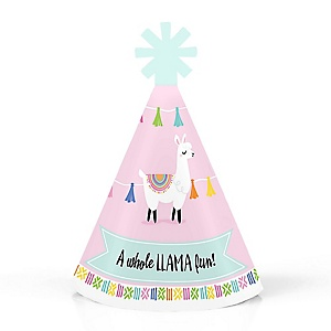 Whole Llama Fun - Personalized Mini Cone Llama Fiesta Baby Shower or Birthday Party Hats - Small Little Party Hats - Set of 10
