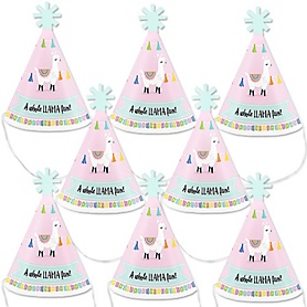Whole Llama Fun - Mini Cone Llama Fiesta Baby Shower or Birthday Party Hats - Small Little Party Hats - Set of 8