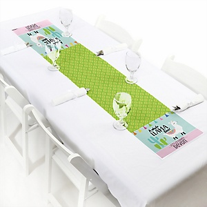 "Whole Llama Fun - Personalized Petite Llama Fiesta Baby Shower or Birthday Party Table Runner - 12"" x 60"""