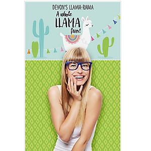 "Whole Llama Fun - Personalized Llama Fiesta Baby Shower or Birthday Party Booth Backdrops - 36"" x 60"""