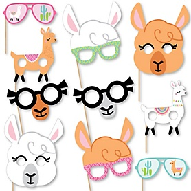 Whole Llama Fun Glasses and Masks - Paper Card Stock Llama Fiesta Baby Shower or Birthday Party Photo Booth Props Kit - 10 Count