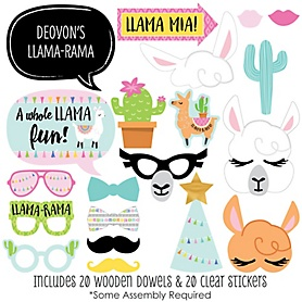 Whole Llama Fun - 20 Piece Llama Fiesta Baby Shower or Birthday Party Photo Booth Props Kit