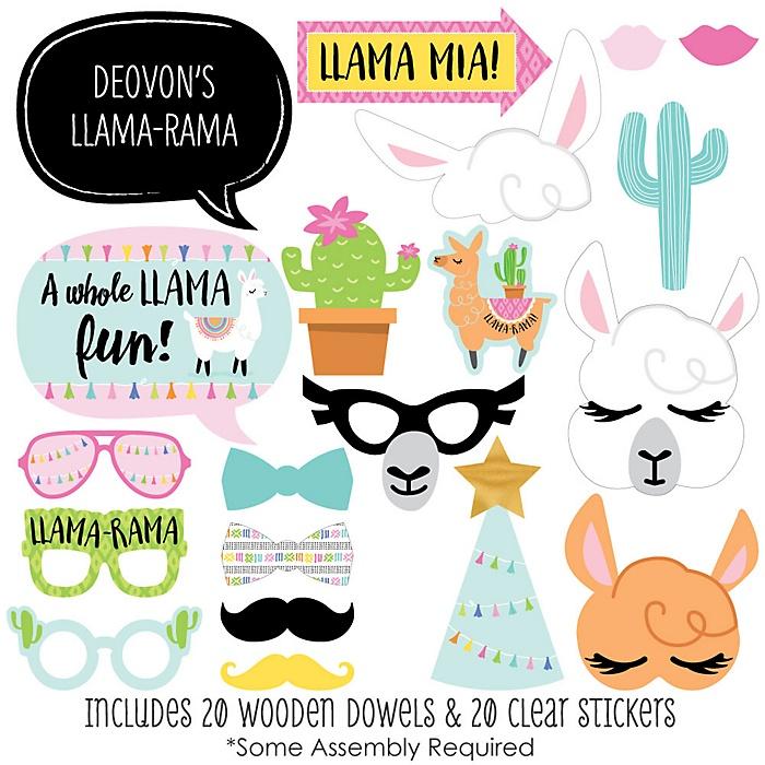 Whole Llama Fun - 20 Piece Llama Fiesta Baby Shower or Birthday Party Photo Booth Props Kit
