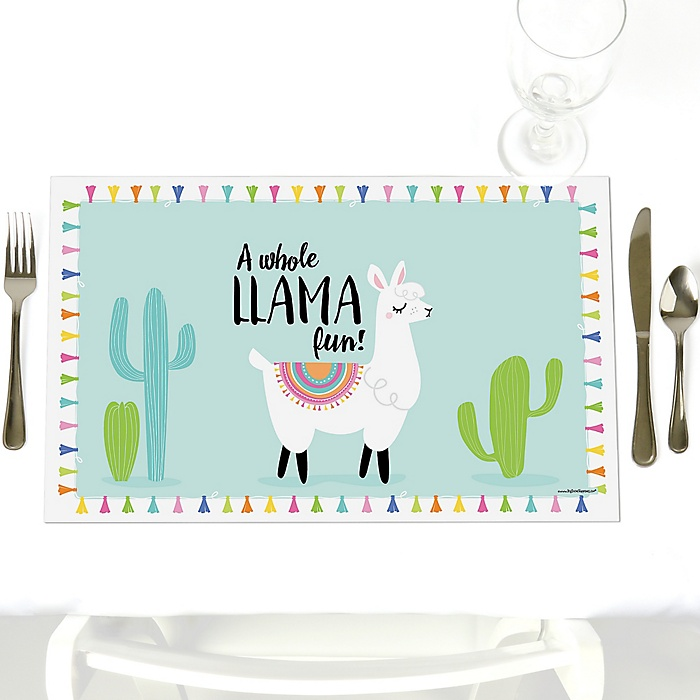 Whole Llama Fun - Party Table Decorations - Llama Fiesta Baby Shower or Birthday Party Placemats - Set of 12