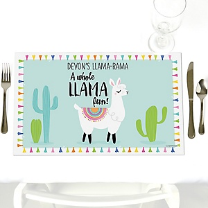 Whole Llama Fun - Party Table Decorations - Personalized Llama Fiesta Baby Shower or Birthday Party Placemats - Set of 12