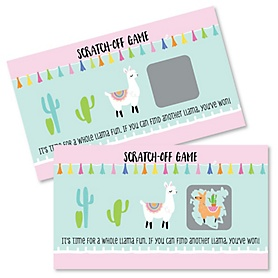 Whole Llama Fun - Llama Fiesta Baby Shower or Birthday Party Scratch Off Cards - 22 Cards