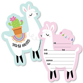 Whole Llama Fun - Shaped Fill-In Invitations - Llama Fiesta Baby Shower or Birthday Party Invitation Cards with Envelopes - Set of 12