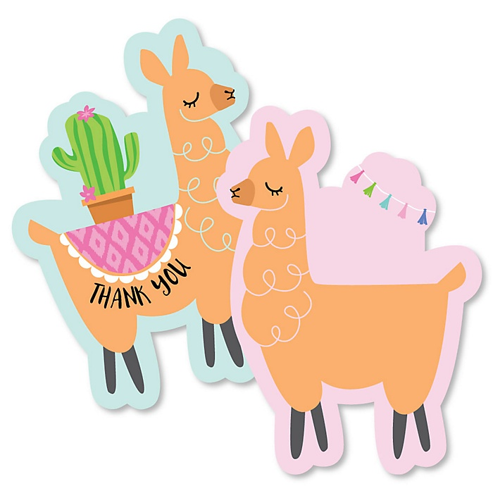 Whole Llama Fun - Shaped Thank You Cards - Llama Fiesta Baby Shower or Birthday Party Thank You Note Cards with Envelopes - Set of 12
