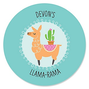 Whole Llama Fun - Personalized Llama Fiesta Baby Shower or Birthday Party Sticker Labels - 24 ct