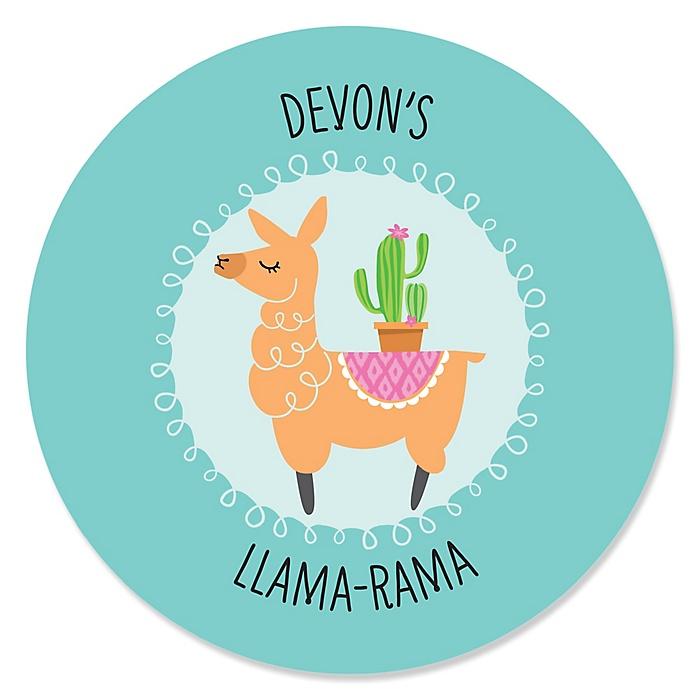 Whole Llama Fun - Personalized Llama Fiesta Baby Shower or Birthday Party Sticker Labels - 24 ct