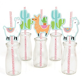 Whole Llama Fun - Paper Straw Decor - Llama Fiesta Baby Shower or Birthday Party Striped Decorative Straws - Set of 24