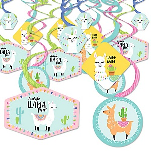 Whole Llama Fun - Llama Fiesta Baby Shower or Birthday Party Hanging Decor - Party Decoration Swirls - Set of 40
