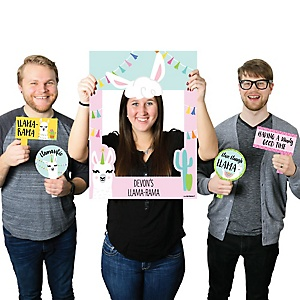 Whole Llama Fun - Personalized Llama Fiesta Baby Shower or Birthday Party Photo Booth Picture Frame & Props - Printed on Sturdy Material