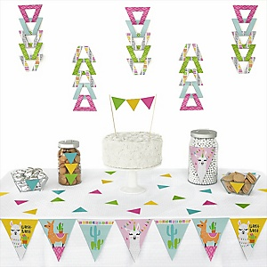 Whole Llama Fun -  Triangle Llama Fiesta Baby Shower or Birthday Party Decoration Kit - 72 Piece