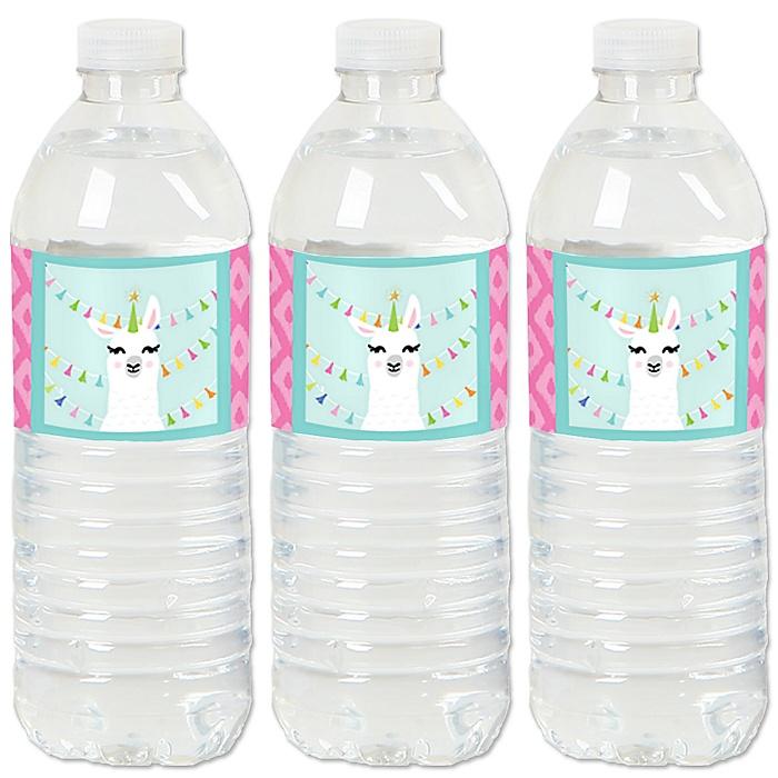 Whole Llama Fun - Llama Fiesta Baby Shower or Birthday Party Water Bottle Sticker Labels - Set of 20