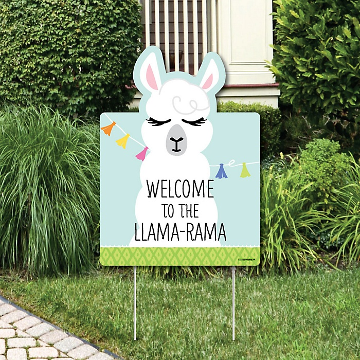 Whole Llama Fun - Party Decorations - Llama Fiesta Baby Shower or Birthday Party Personalized Welcome Yard Sign