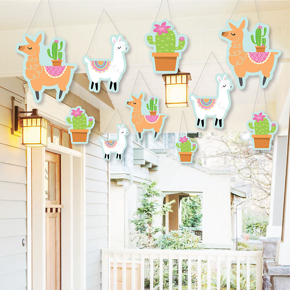 Hanging Whole Llama Fun Outdoor Llama Fiesta Baby Shower Or Birthday Party Hanging Porch Tree Yard Decorations 10 Pieces
