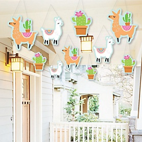 Hanging Whole Llama Fun - Outdoor Llama Fiesta Baby Shower or Birthday Party Hanging Porch & Tree Yard Decorations - 10 Pieces