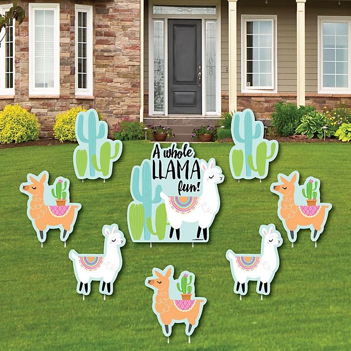 Whole Llama Fun - Yard Sign & Outdoor Lawn Decorations - Llama Fiesta Baby Shower or Birthday Party Yard Signs - Set of 8