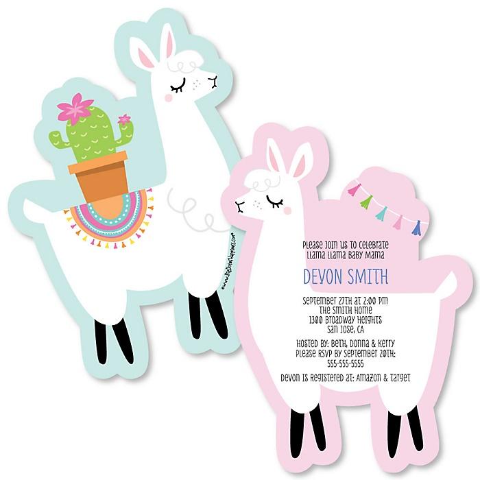 Whole Llama Fun - Shaped Llama Fiesta Baby Shower Invitations - Set of 12