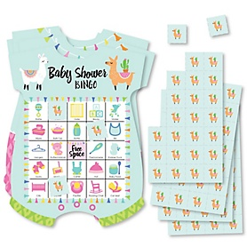 Whole Llama Fun - Picture Bingo Cards and Markers - Llama Fiesta Baby Shower Shaped Bingo Game - Set of 18
