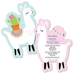 Whole Llama Fun - Shaped Birthday Party Invitations - Set of 12