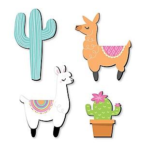 Whole Llama Fun - Nursery, Kids Room and Fiesta Home Decorations - Shaped Wall Art - 4 Piece