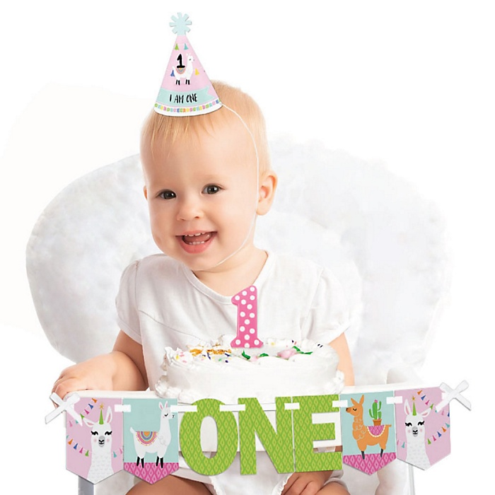 Whole Llama Fun 1st Birthday - First Birthday Girl Smash Cake Decorating Kit - Llama Fiesta High Chair Decorations