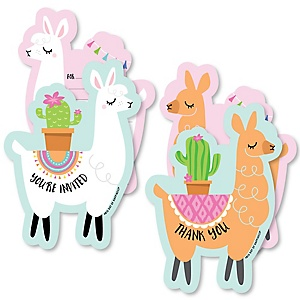 Whole Llama Fun - 20 Shaped Fill-In Invitations and 20 Shaped Thank You Cards Kit - Llama Fiesta Baby Shower or Birthday Party Stationery Kit - 40 Pack