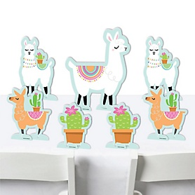 Whole Llama Fun - Llama Fiesta Baby Shower or Birthday Party Centerpiece Table Decorations - Tabletop Standups - 7 Pieces