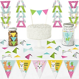 Whole Llama Fun - DIY Pennant Banner Decorations - Llama Fiesta Baby Shower or Birthday Party Triangle Kit - 99 Pieces