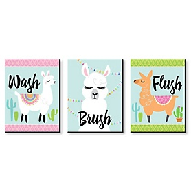 Whole Llama Fun - Kids Bathroom Rules Wall Art - 7.5 x 10 inches - Set of 3 Signs - Wash, Brush, Flush